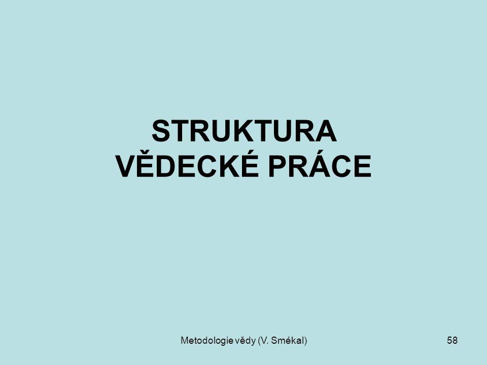 Metodologie vědy (V. Smékal)58 STRUKTURA VĚDECKÉ PRÁCE