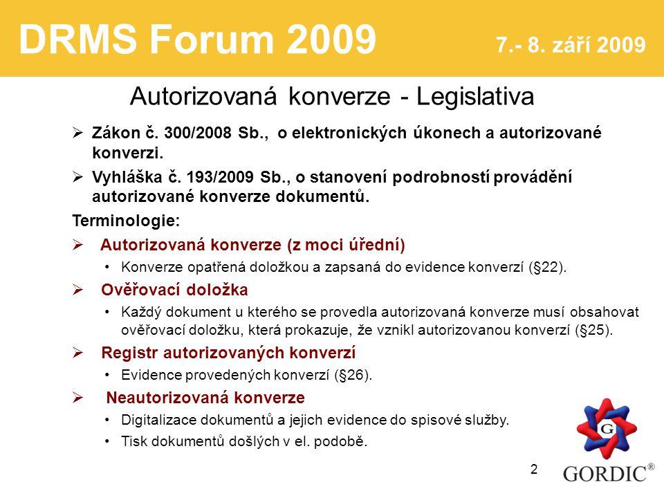 DRMS Forum 2009 7.- 8. září 2009 2 Autorizovaná konverze - Legislativa  Zákon č.