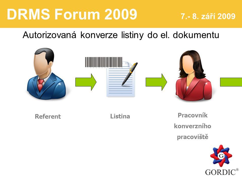 DRMS Forum 2009 7.- 8. září 2009 4 Autorizovaná konverze listiny do el.