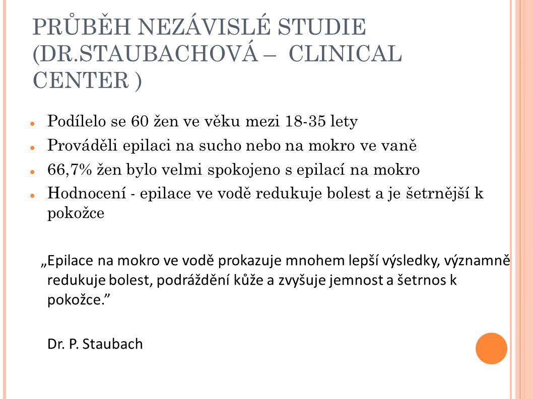 PRŮBĚH NEZÁVISLÉ STUDIE (DR.STAUBACHOVÁ – CLINICAL CENTER ) Podílelo se 60 žen ve věku mezi 18-35 lety Prováděli epilaci na sucho nebo na mokro ve van