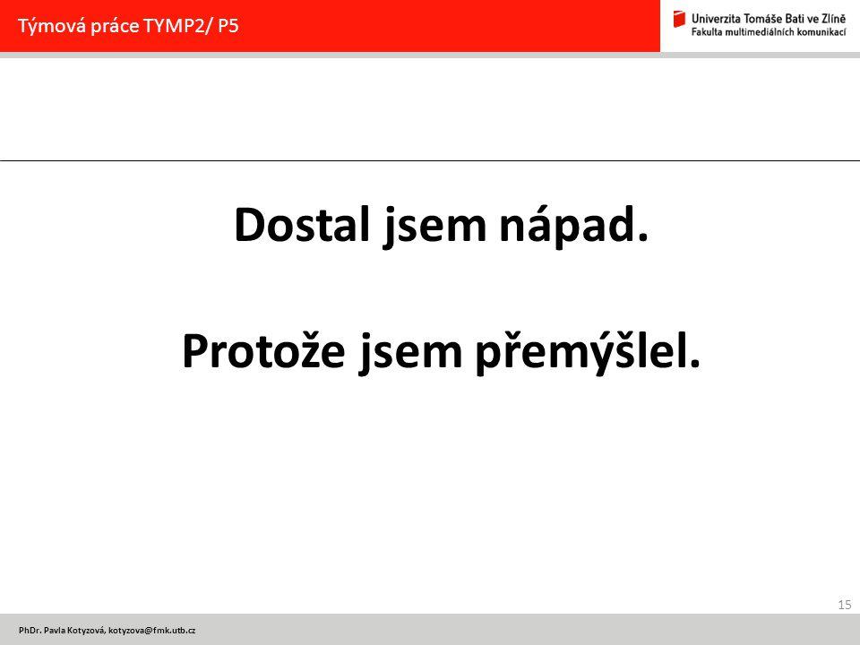 15 PhDr.Pavla Kotyzová, kotyzova@fmk.utb.cz Týmová práce TYMP2/ P5 Dostal jsem nápad.