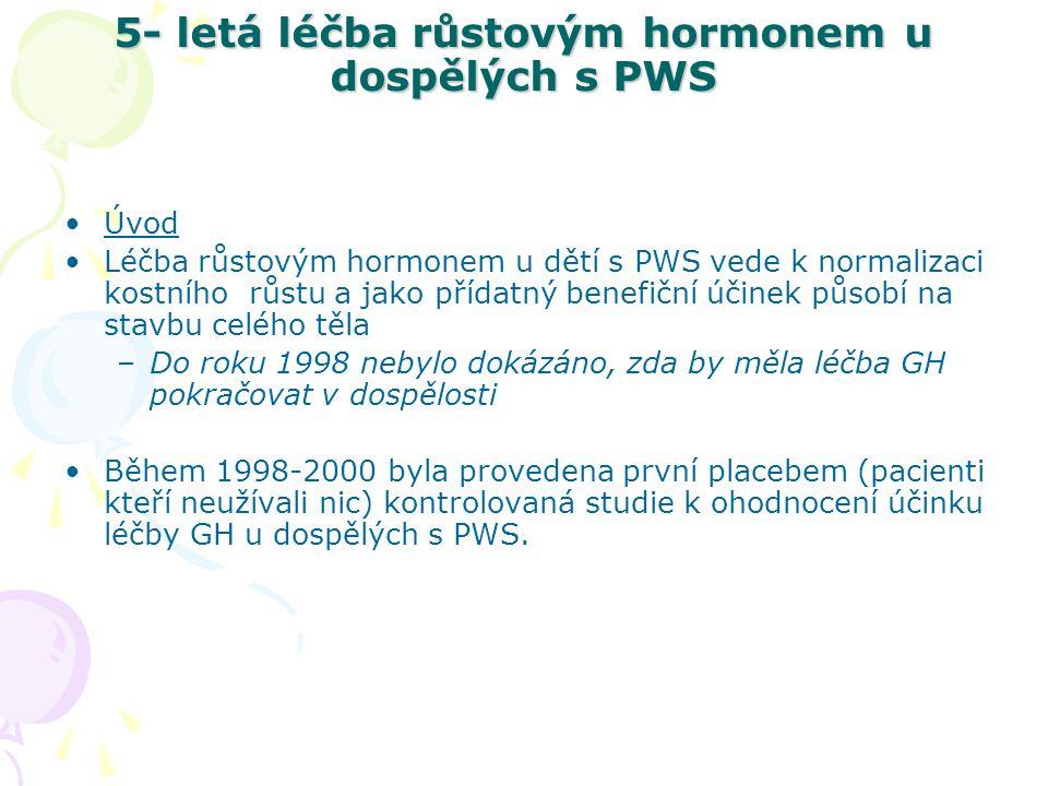 5- letá léčba růstovým hormonem u dospělých s PWS Během 12-ti měsíců sledování se ukázal pozitivní účinek na celkovou stavbu těla s redukcí tělesných tuků a navýšením svalové hmoty.