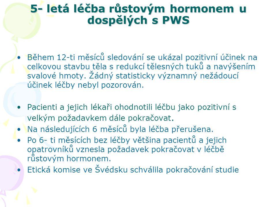 5- letá léčba růstovým hormonem u dospělých s PWS 7 mužů a 7 žen věku 18-31 let byli sledováni následujících 5 let.