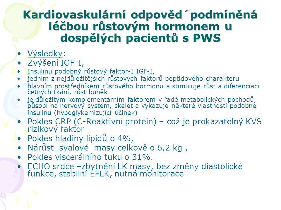Kardiovaskulární odpověd´podmíněná léčbou růstovým hormonem u dospělých pacientů s PWS Závěr: Léčba růstovým hormonem může zlepšit některé kardiovaskulární parametry PWS – srdeční hmotu (bez negativního působení na systolické a diastolické funkce), zlepšit stavbu těla a některé markery kardiovaskulárního rizika –CRP.