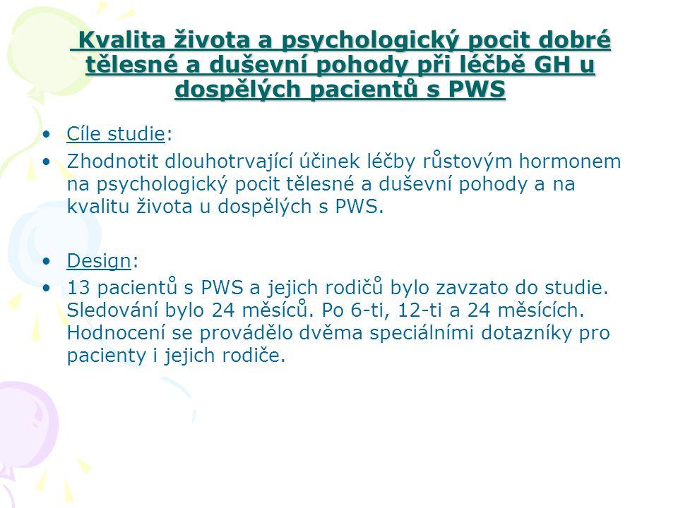 Kvalita života a psychologický pocit dobré tělesné a duševní pohody při léčbě GH u dospělých pacientů s PWS Kvalita života a psychologický pocit dobré