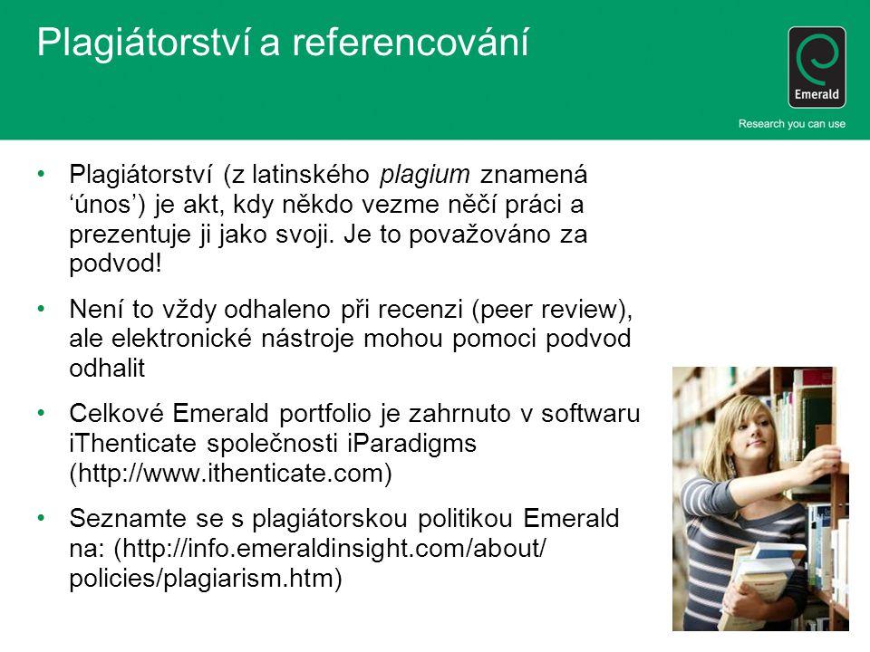 Plagiátorství a referencování Plagiátorství (z latinského plagium znamená 'únos') je akt, kdy někdo vezme něčí práci a prezentuje ji jako svoji.
