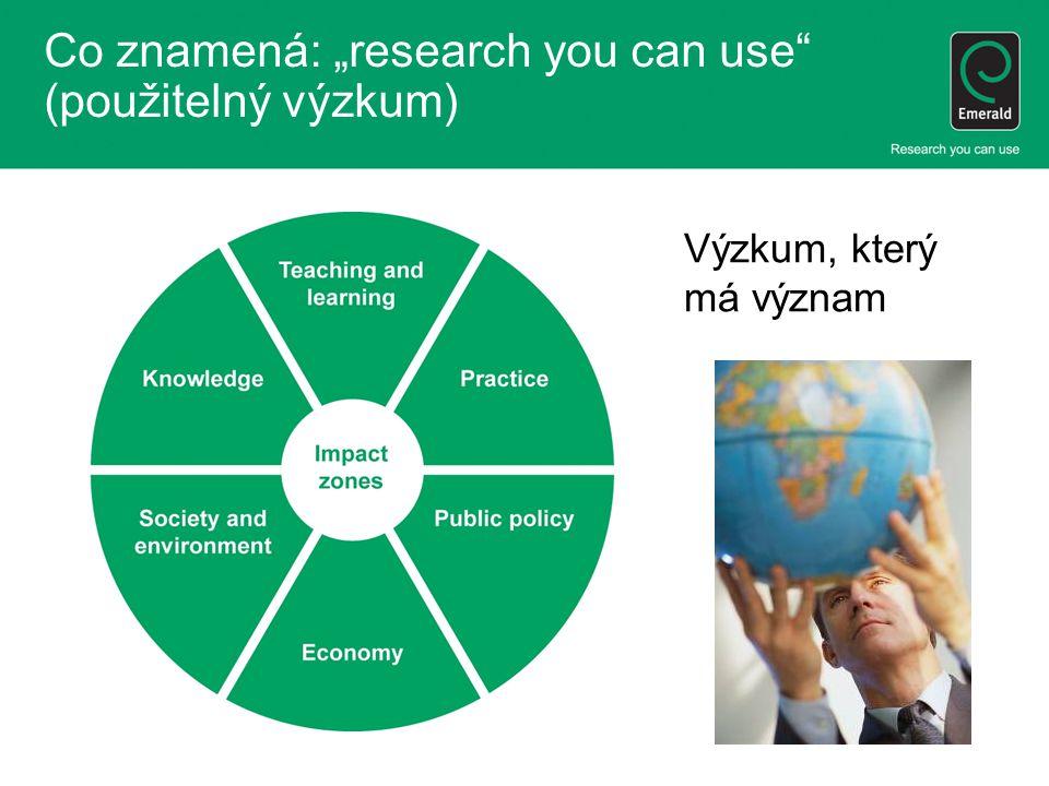 """Co znamená: """"research you can use (použitelný výzkum) Výzkum, který má význam"""