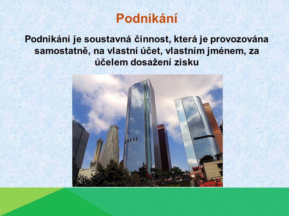 Podnikání Podnikání je soustavná činnost, která je provozována samostatně, na vlastní účet, vlastním jménem, za účelem dosažení zisku