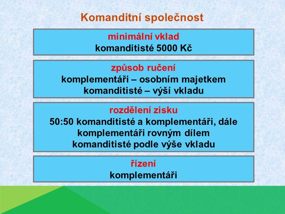 Společnost s ručením omezeným minimální vklad celkový 200 000 Kč, společníci 20 000 Kč způsob ručení do výše vkladu rozdělení zisku podle výše vkladů řízení valná hromada volí jednatele