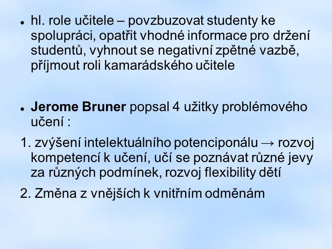 hl. role učitele – povzbuzovat studenty ke spolupráci, opatřit vhodné informace pro držení studentů, vyhnout se negativní zpětné vazbě, příjmout roli
