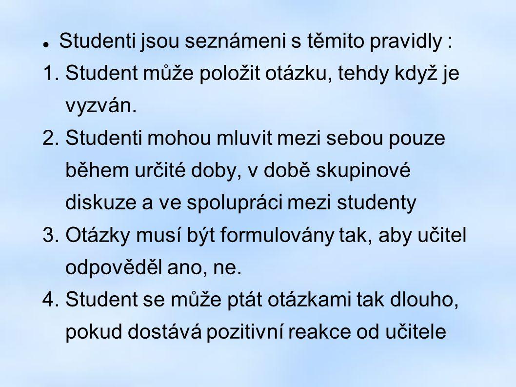 Studenti jsou seznámeni s těmito pravidly : 1. Student může položit otázku, tehdy když je vyzván.