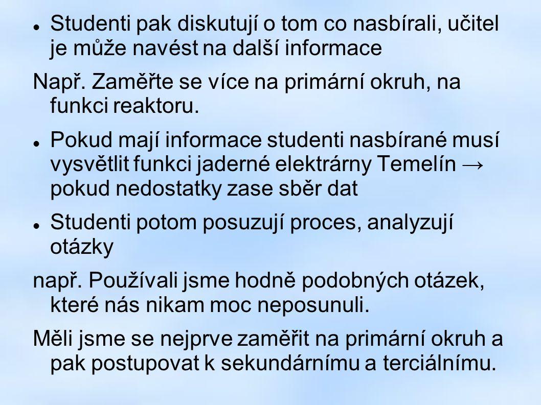 Studenti pak diskutují o tom co nasbírali, učitel je může navést na další informace Např.