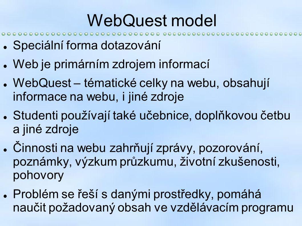 WebQuest model Speciální forma dotazování Web je primárním zdrojem informací WebQuest – tématické celky na webu, obsahují informace na webu, i jiné zdroje Studenti používají také učebnice, doplňkovou četbu a jiné zdroje Činnosti na webu zahrňují zprávy, pozorování, poznámky, výzkum průzkumu, životní zkušenosti, pohovory Problém se řeší s danými prostředky, pomáhá naučit požadovaný obsah ve vzdělávacím programu