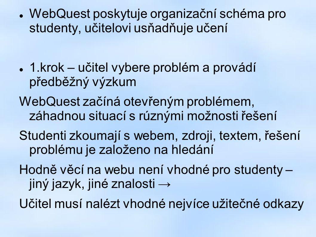 WebQuest poskytuje organizační schéma pro studenty, učitelovi usňadňuje učení 1.krok – učitel vybere problém a provádí předběžný výzkum WebQuest začíná otevřeným problémem, záhadnou situací s rúznými možnosti řešení Studenti zkoumají s webem, zdroji, textem, řešení problému je založeno na hledání Hodně věcí na webu není vhodné pro studenty – jiný jazyk, jiné znalosti → Učitel musí nalézt vhodné nejvíce užitečné odkazy