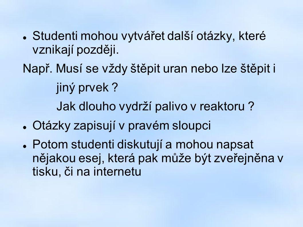 Studenti mohou vytvářet další otázky, které vznikají později.