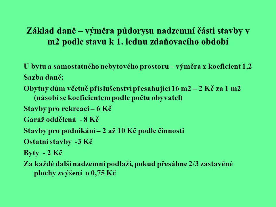 Základ daně – výměra půdorysu nadzemní části stavby v m2 podle stavu k 1.