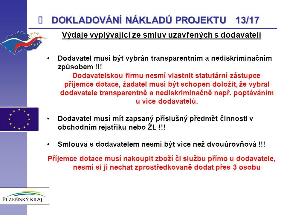  DOKLADOVÁNÍ NÁKLADŮ PROJEKTU 13/17 Výdaje vyplývající ze smluv uzavřených s dodavateli Dodavatel musí být vybrán transparentním a nediskriminačním z