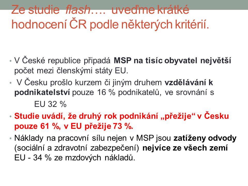 Ze studie flash…. uveďme krátké hodnocení ČR podle některých kritérií.