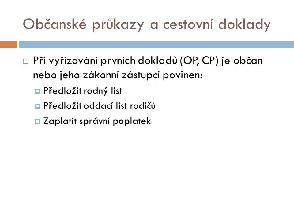 Občanský průkaz  Vydává se po dosažení 15 let věku  Plní funkci osobního identifikačního dokladu  Obsahuje základní osobní údaje občana  Vydává ho pověřený úřad v místě trvalého bydliště  Obvykle má platnost 10 let  Slouží i jako cestovní doklad do zemí EU