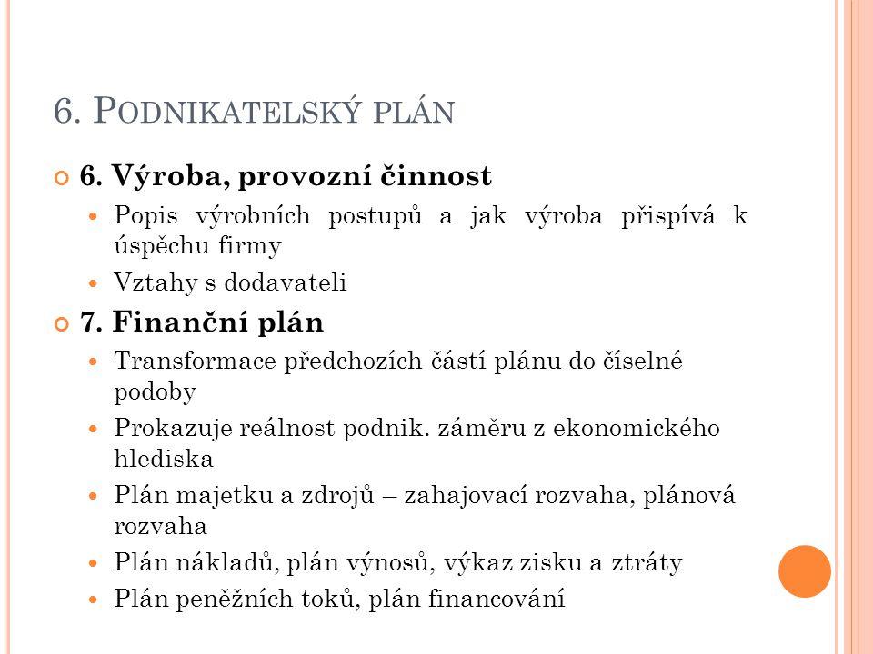 6.P ODNIKATELSKÝ PLÁN 6.
