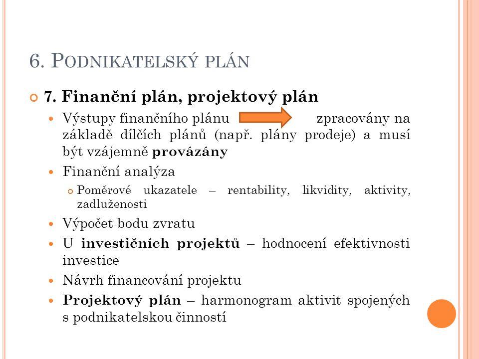 6.P ODNIKATELSKÝ PLÁN 7.