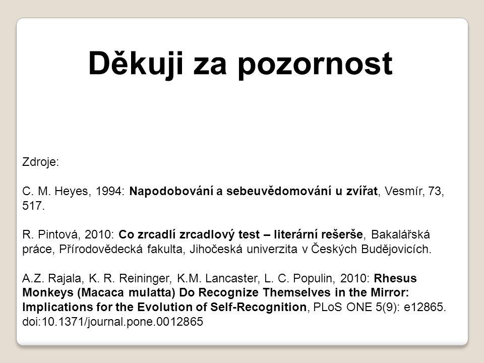 Děkuji za pozornost Zdroje: C. M. Heyes, 1994: Napodobování a sebeuvědomování u zvířat, Vesmír, 73, 517. R. Pintová, 2010: Co zrcadlí zrcadlový test –
