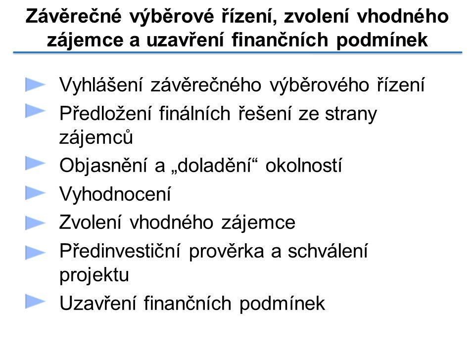 Závěrečné výběrové řízení, zvolení vhodného zájemce a uzavření finančních podmínek Vyhlášení závěrečného výběrového řízení Předložení finálních řešení