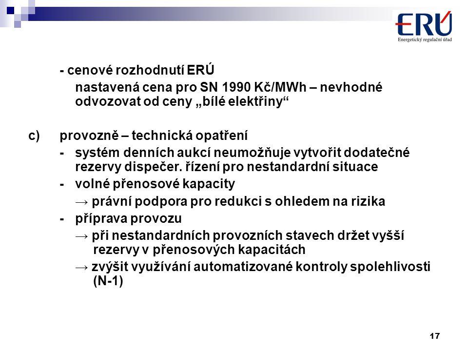 """17 - cenové rozhodnutí ERÚ nastavená cena pro SN 1990 Kč/MWh – nevhodné odvozovat od ceny """"bílé elektřiny c)provozně – technická opatření - systém denních aukcí neumožňuje vytvořit dodatečné rezervy dispečer."""