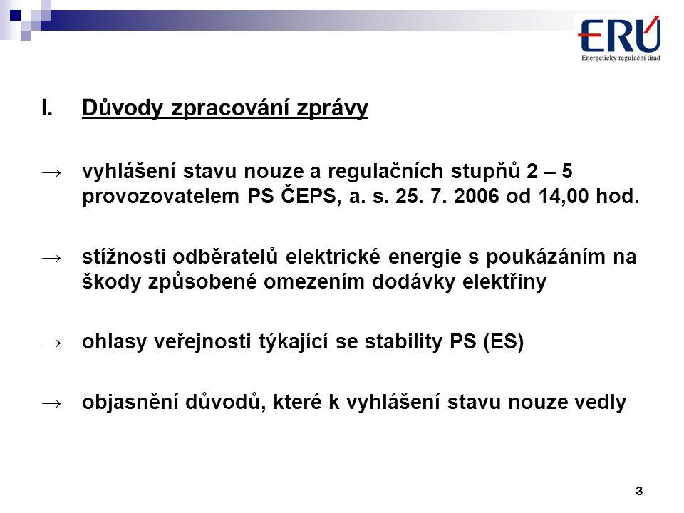 3 I.Důvody zpracování zprávy →vyhlášení stavu nouze a regulačních stupňů 2 – 5 provozovatelem PS ČEPS, a.