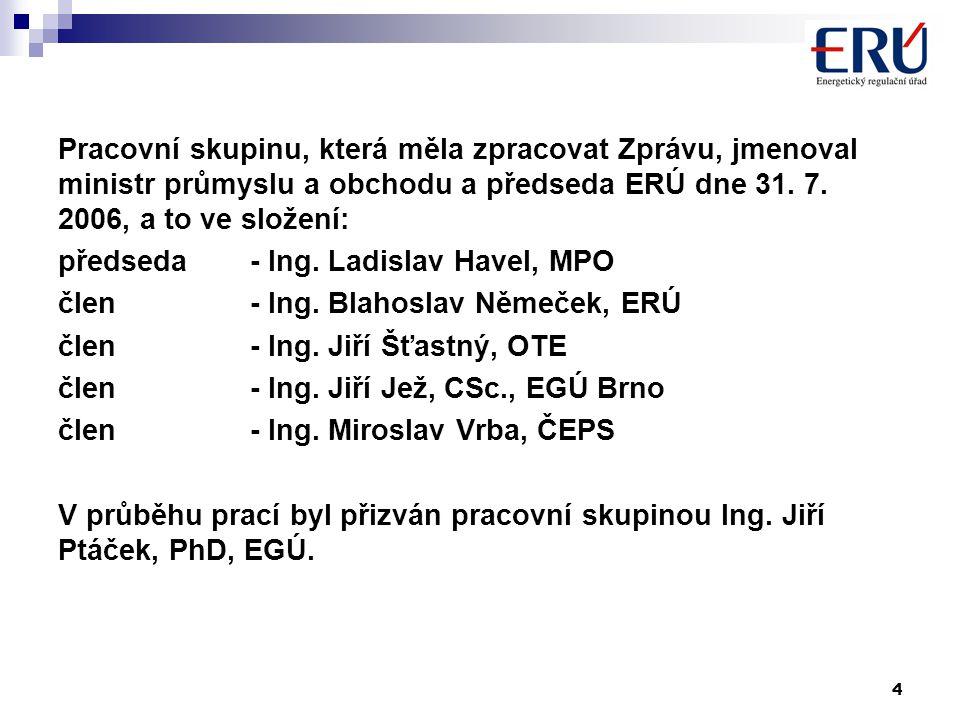 4 Pracovní skupinu, která měla zpracovat Zprávu, jmenoval ministr průmyslu a obchodu a předseda ERÚ dne 31.
