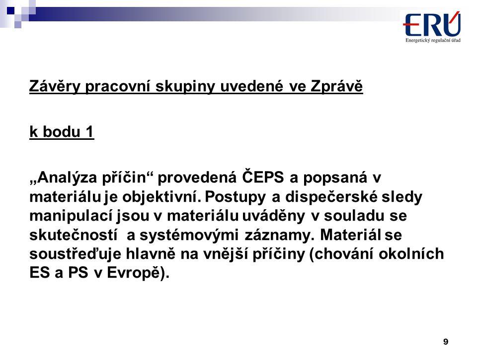 """9 Závěry pracovní skupiny uvedené ve Zprávě k bodu 1 """"Analýza příčin provedená ČEPS a popsaná v materiálu je objektivní."""
