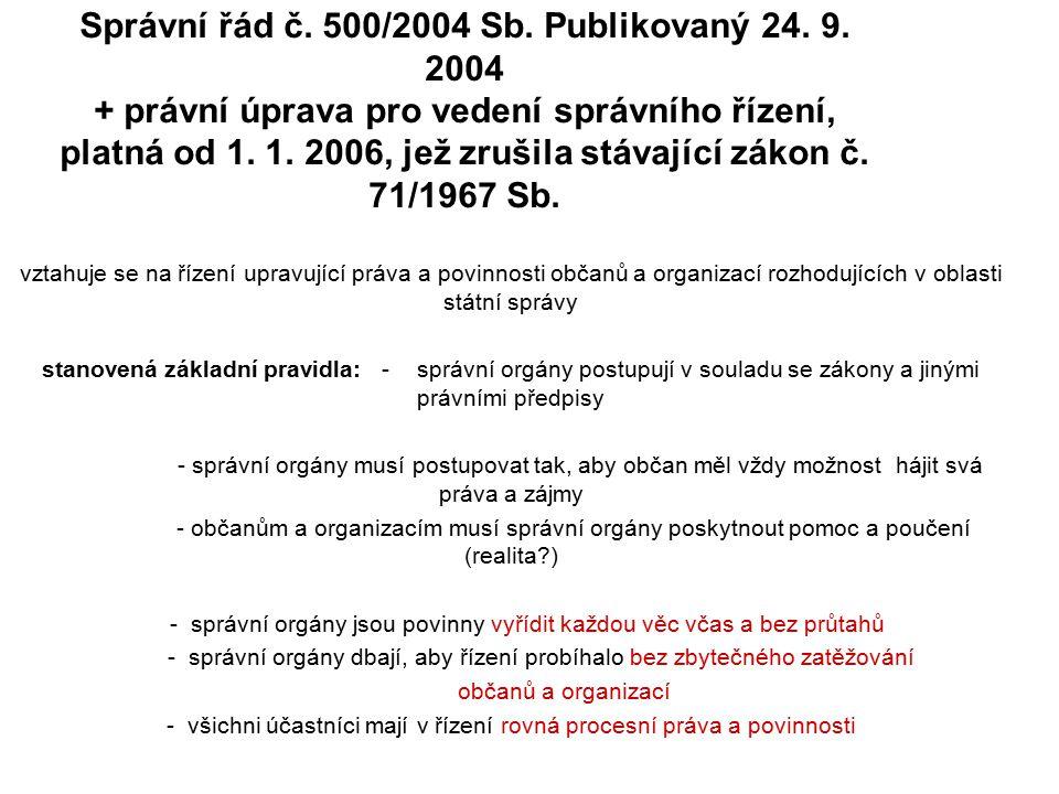 Správní řád č. 500/2004 Sb. Publikovaný 24. 9.