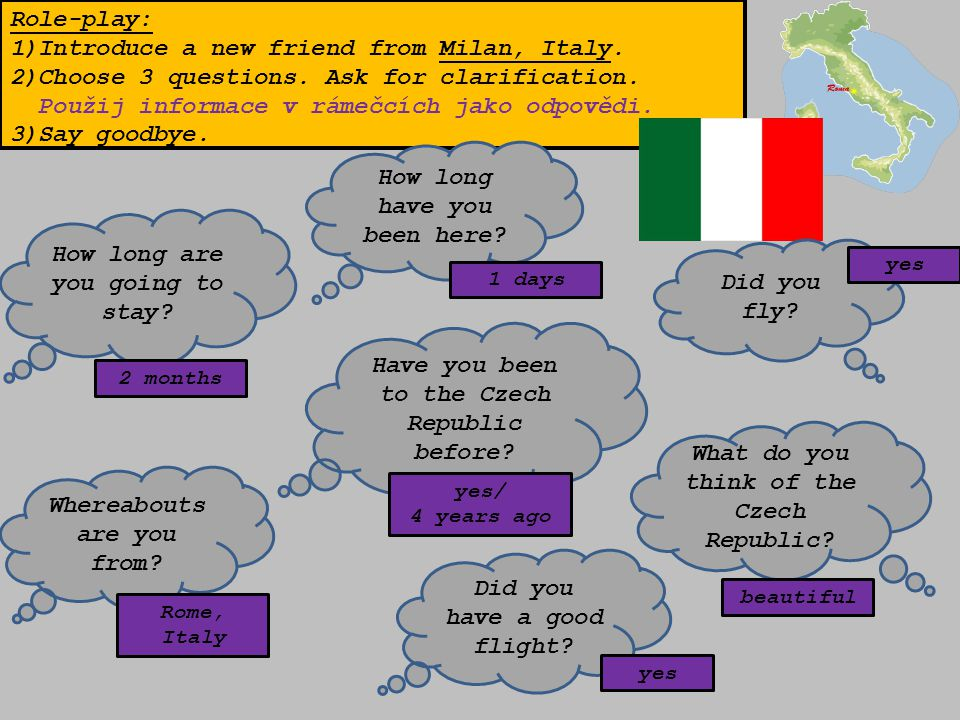 Role-play: 1)Introduce a new friend from Milan, Italy.