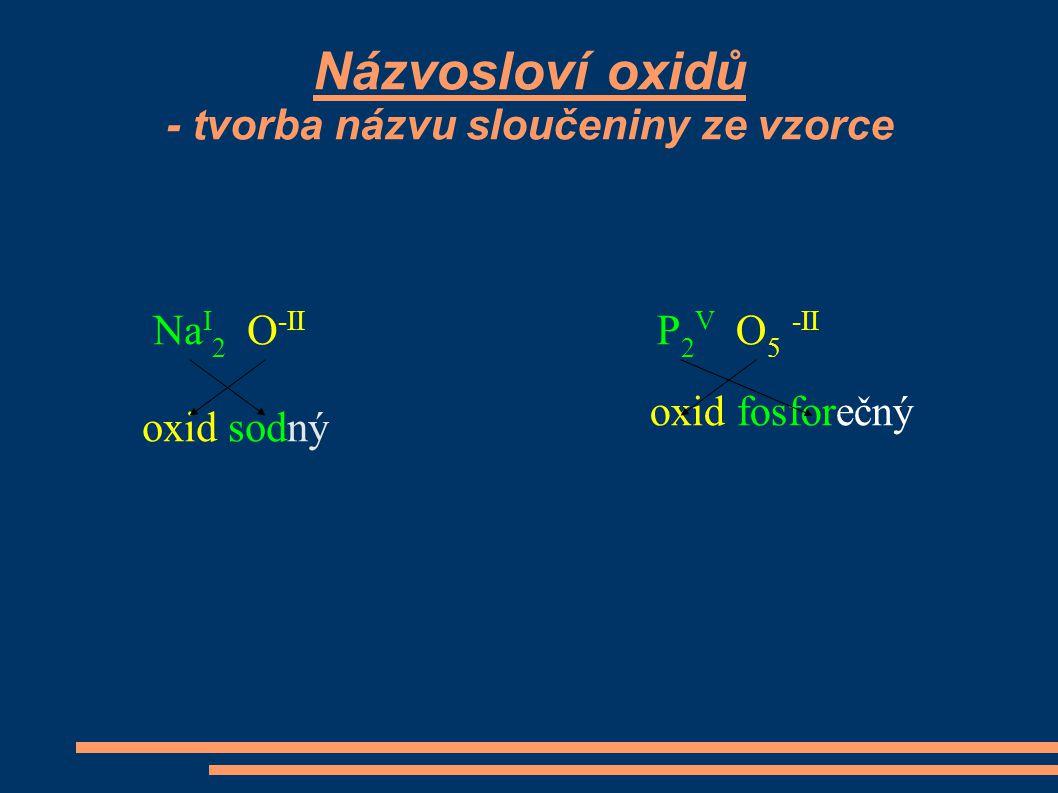Názvosloví oxidů - tvorba názvu sloučeniny ze vzorce Na I 2 O -II oxid sodný P 2 V O 5 -II oxid fosforečný