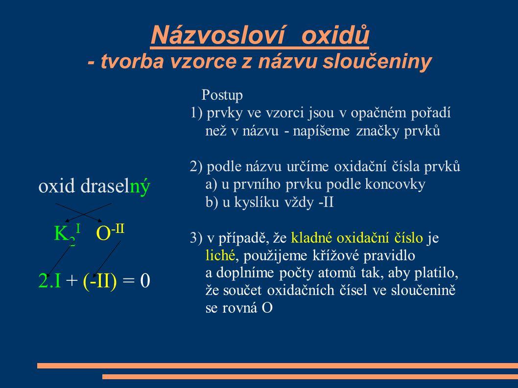 Názvosloví oxidů - tvorba vzorce z názvu sloučeniny oxid draselný K 2 I O -II 2.I + (-II) = 0 Postup 1) prvky ve vzorci jsou v opačném pořadí než v ná