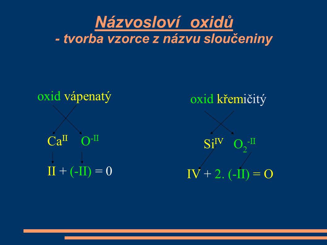 Názvosloví oxidů - tvorba vzorce z názvu sloučeniny oxid vápenatý Ca II O -II II + (-II) = 0 oxid křemičitý Si IV O 2 -II IV + 2. (-II) = O