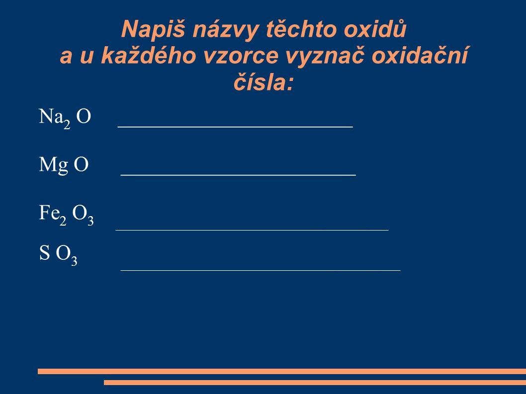 Napiš názvy těchto oxidů a u každého vzorce vyznač oxidační čísla: Na 2 O ______________________ Mg O ______________________ Fe 2 O 3 ________________