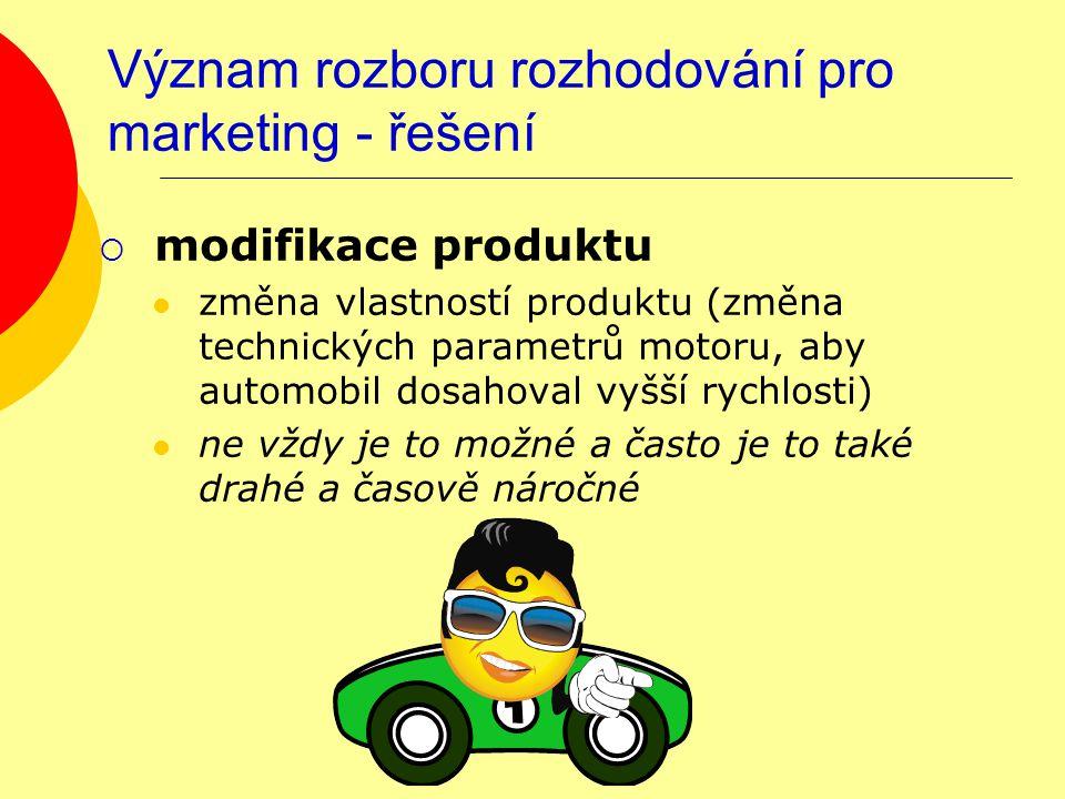 Význam rozboru rozhodování pro marketing - řešení  modifikace produktu změna vlastností produktu (změna technických parametrů motoru, aby automobil dosahoval vyšší rychlosti) ne vždy je to možné a často je to také drahé a časově náročné