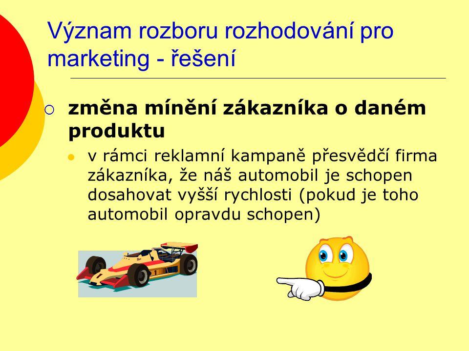 Význam rozboru rozhodování pro marketing - řešení  změna mínění zákazníka o daném produktu v rámci reklamní kampaně přesvědčí firma zákazníka, že náš automobil je schopen dosahovat vyšší rychlosti (pokud je toho automobil opravdu schopen)