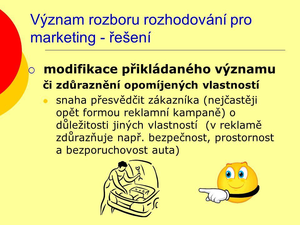 Význam rozboru rozhodování pro marketing - řešení  modifikace přikládaného významu či zdůraznění opomíjených vlastností snaha přesvědčit zákazníka (nejčastěji opět formou reklamní kampaně) o důležitosti jiných vlastností (v reklamě zdůrazňuje např.