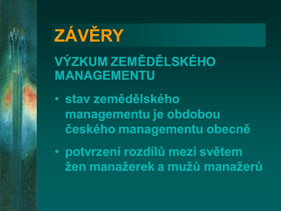 ZÁVĚRY VÝZKUM ZEMĚDĚLSKÉHO MANAGEMENTU stav zemědělského managementu je obdobou českého managementu obecně potvrzení rozdílů mezi světem žen manažerek
