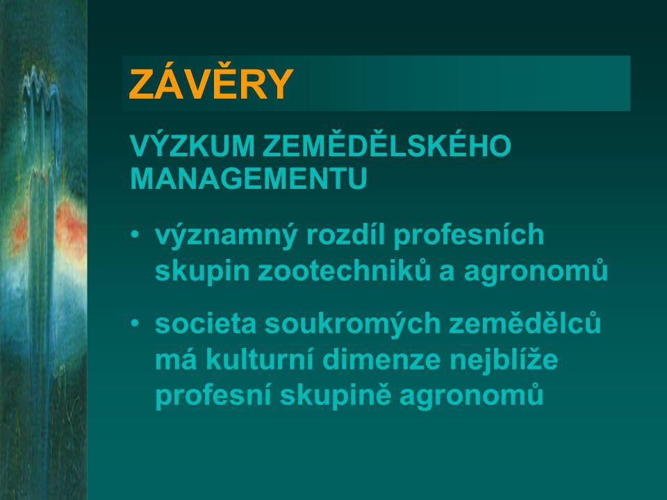 ZÁVĚRY VÝZKUM ZEMĚDĚLSKÉHO MANAGEMENTU významný rozdíl profesních skupin zootechniků a agronomů societa soukromých zemědělců má kulturní dimenze nejbl