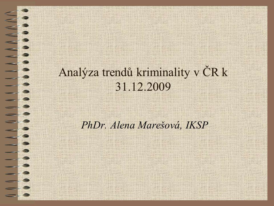 Analýza trendů kriminality v ČR k 31.12.2009 PhDr. Alena Marešová, IKSP