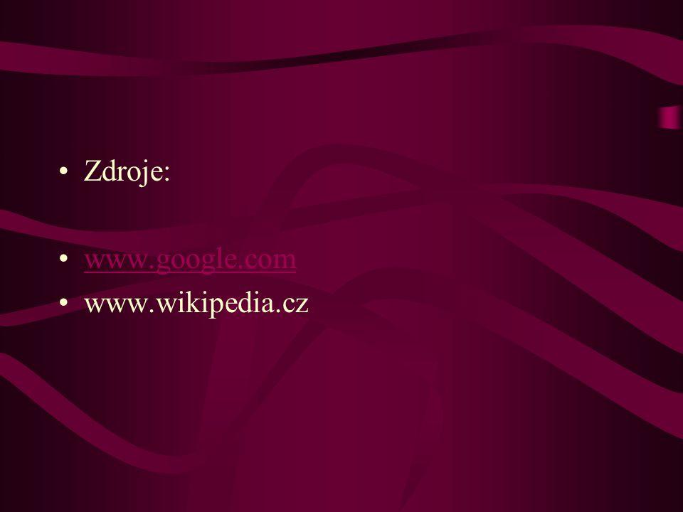 Zdroje: www.google.com www.wikipedia.cz