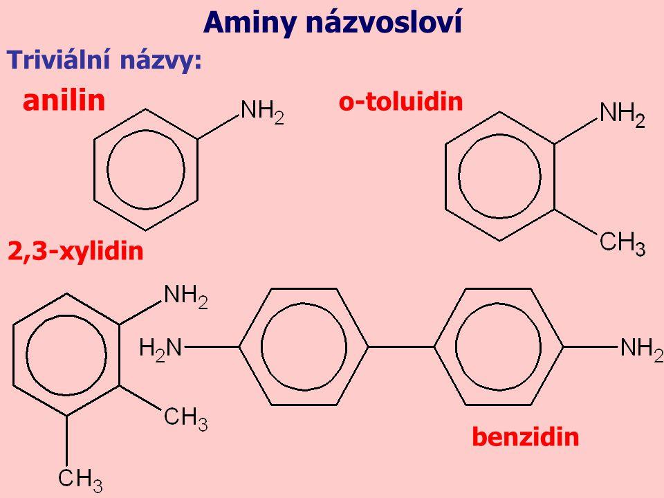 Triviální názvy: anilin o-toluidin 2,3-xylidin benzidin Aminy názvosloví