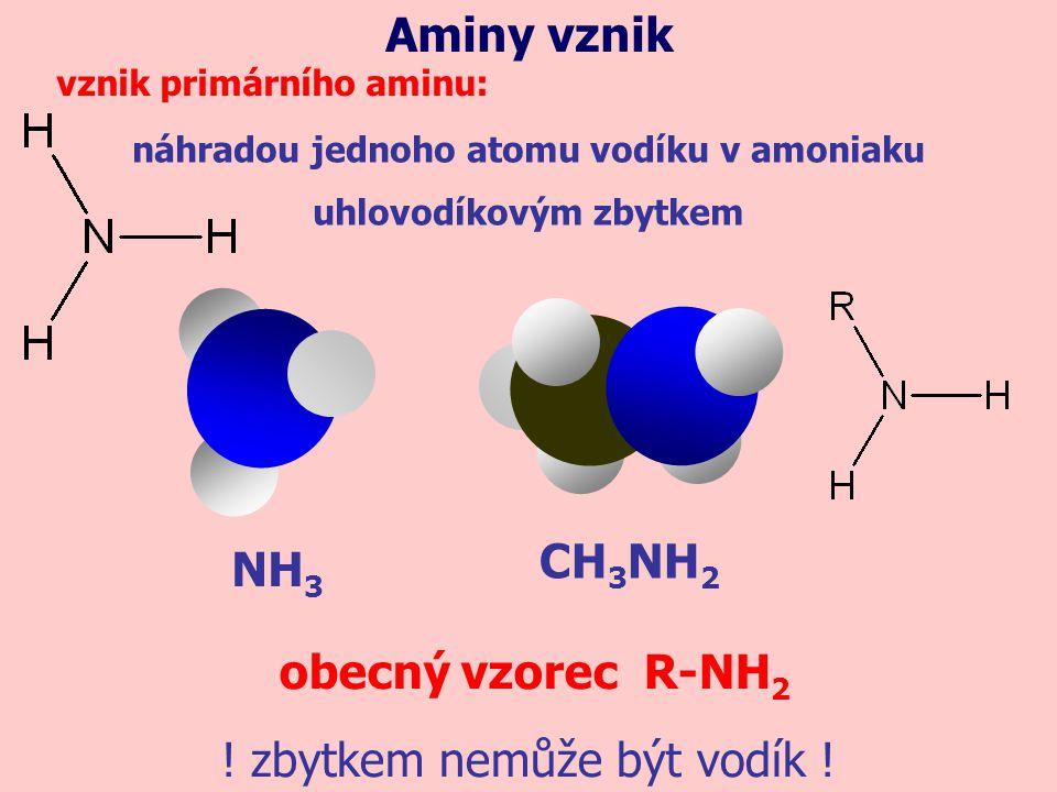NH 3 náhradou jednoho atomu vodíku v amoniaku uhlovodíkovým zbytkem Aminy vznik vznik primárního aminu: CH 3 NH 2 obecný vzorec R-NH 2 ! zbytkem nemůž