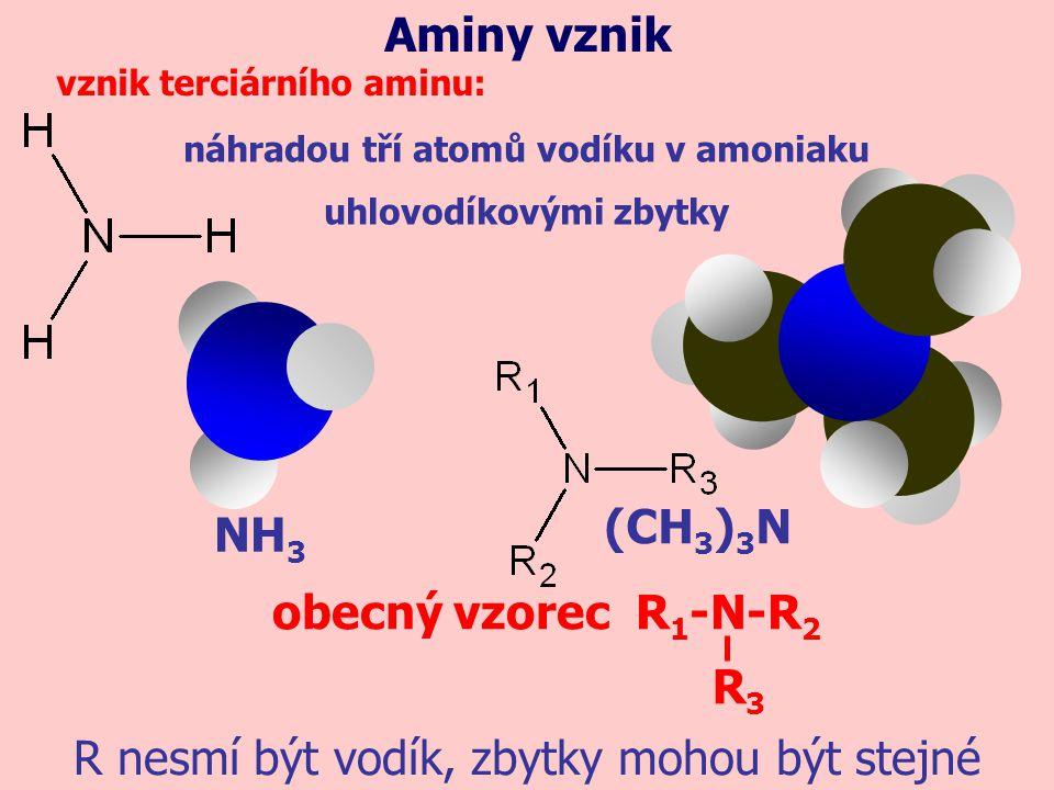 NH 3 náhradou tří atomů vodíku v amoniaku uhlovodíkovými zbytky Aminy vznik vznik terciárního aminu: (CH 3 ) 3 N obecný vzorec R 1 -N-R 2 R nesmí být