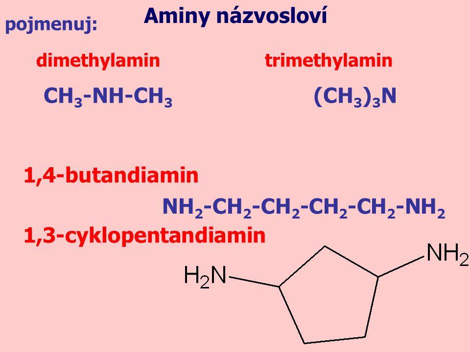 dimethylamin trimethylamin pojmenuj: 1,4-butandiamin 1,3-cyklopentandiamin CH 3 -NH-CH 3 (CH 3 ) 3 N NH 2 -CH 2 -CH 2 -CH 2 -CH 2 -NH 2