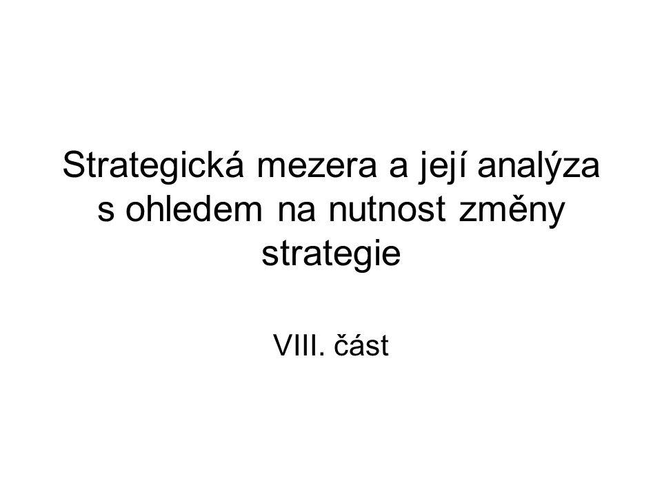 Pojem strategické mezery nám odpovídá na otázku: Kdy je nutno změnit strategii .