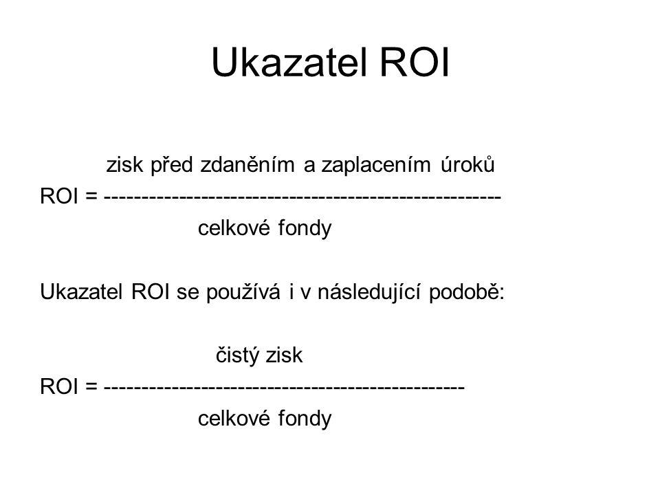 Ukazatel ROI zisk před zdaněním a zaplacením úroků ROI = ------------------------------------------------------ celkové fondy Ukazatel ROI se používá i v následující podobě: čistý zisk ROI = ------------------------------------------------- celkové fondy